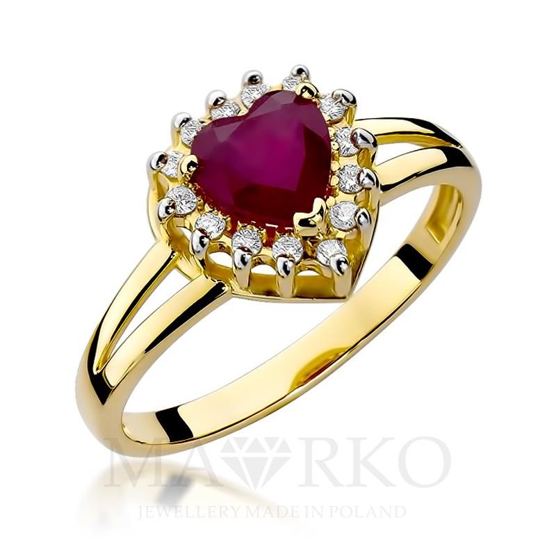 Pierścionek Zaręczynowy Białe żółte Złoto Z Rubinem 110ct W310 585