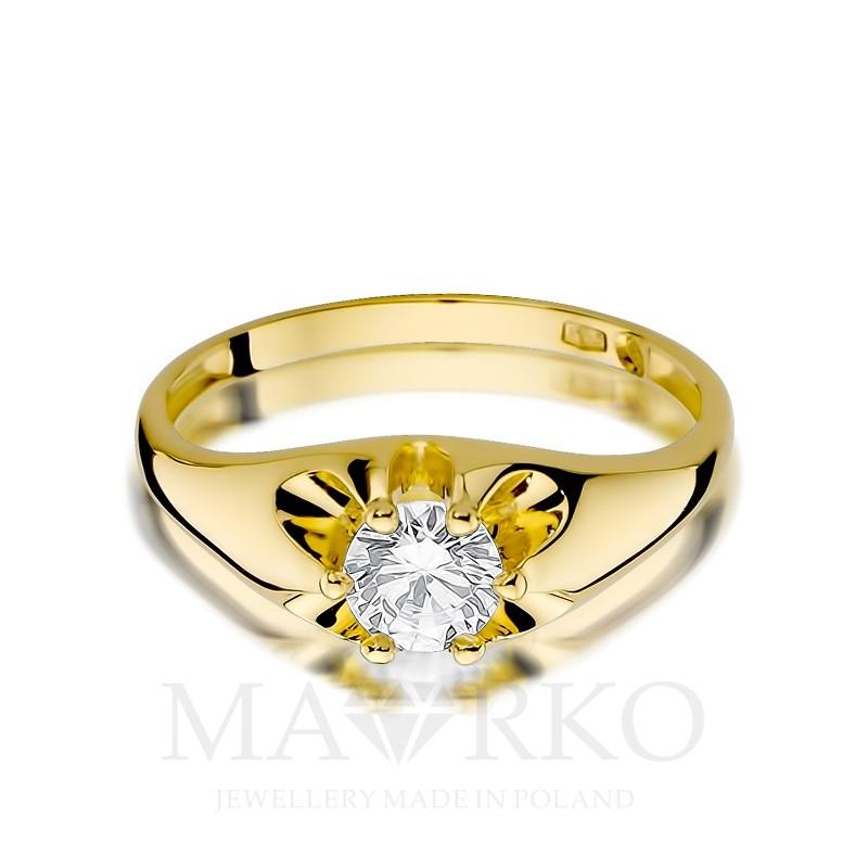 6abf50063dd1ac Złoty pierścionek 333 z dużą cyrkonią na zaręczyny, CL007-333-C