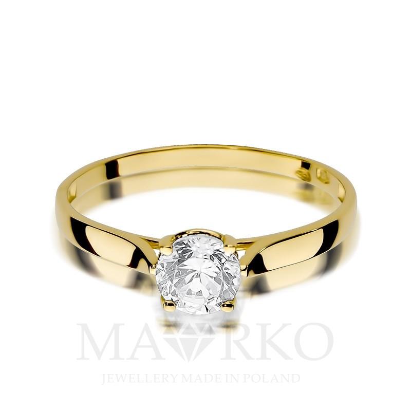 c28390e3b2dcb4 Złoty pierścionek 333 z dużą cyrkonią na zaręczyny, CL001-333-C
