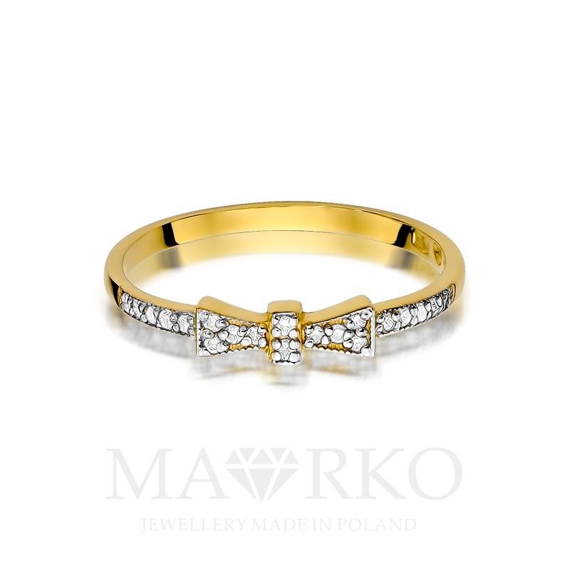 dd4b2dd4453893 ... Złoty pierścionek kokardka wysadzana brylantami Soledo P015-585 MARKO  ...