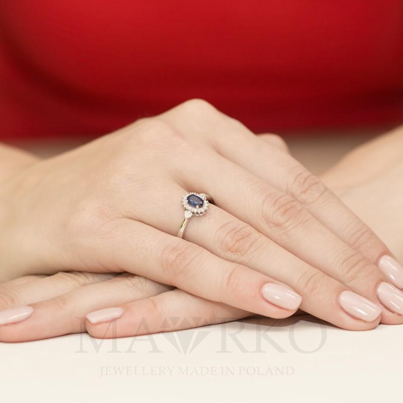 Pierścionek Zaręczynowy Z Białego żółtego Złota Z Szafirem W312 585