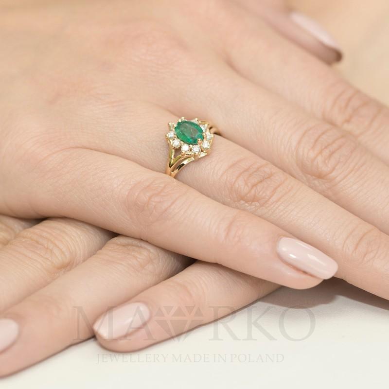 7501a4edd12509 ... Zaręczynowy pierścionek z żółtego złota szmaragd W037-585-SZ0.80 MARKO  ...