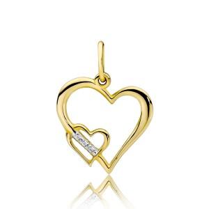 9278a2da65929a Złoty wisiorek podwójne serce próba 585 wysadzane brylantami 0,015ct