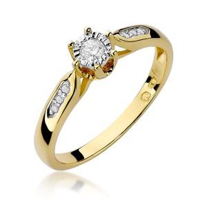 98200703bc0360 Pierścionek zaręczynowy żółte złoto z brylantami 0,11ct Galaktyki