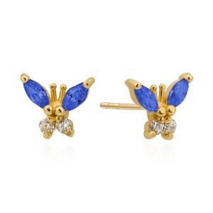 afee55cb3117cd Złote dziecięce kolczyki motylki pr.585 z kolorowymi cyrkoniami Infano