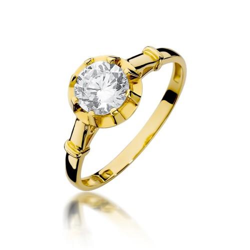 1de10546f8b7b6 Złoty pierścionek 333 z dużą cyrkonią na zaręczyny, CL009-333-C