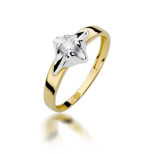 Zaręczynowy Pierścionek Białe żółte Złoto Z Brylantem 012ct W155