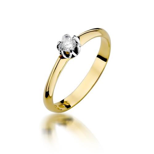 Zaręczynowy Pierścionek Białe żółte Złoto Z Brylantem 010ct W134