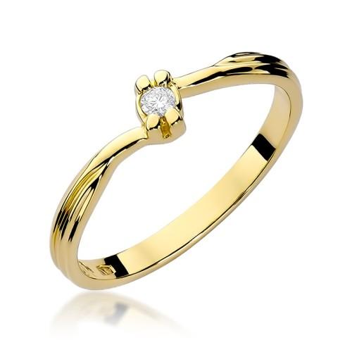 Zaręczynowy Pierścionek Białe żółte Złoto Brylant 004ct W324 585 B004