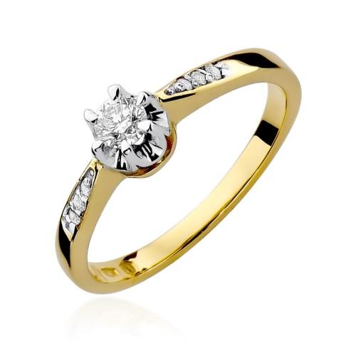 Pierścionek Zaręczynowy Białe żółte Złoto I Brylanty 025ct W291
