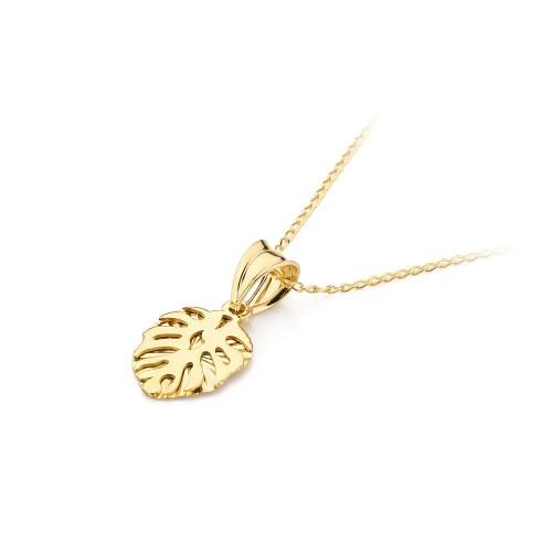 Złoty naszyjnik liść monstery zawieszka łańcuszek 585 Virino