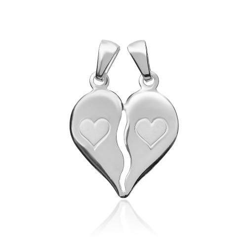 96fd8b49ed51d5 Srebrny wisiorek łamane serce pr.925 idealny dla par grawer gratis