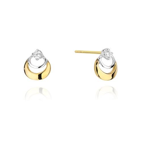 5dd09ca90407d2 Złote kolczyki klasyczne z cyrkonią dwa złączone koła K347-333 marko