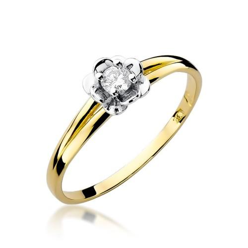 a04392a18d66e1 pierścionek z żółtego złota z brylantem 0,10ct Generacja W056 próba 585  Marko