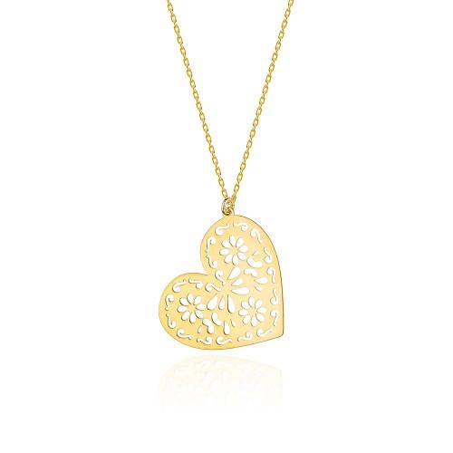 cf94db05812622 Złoty naszyjnik celebrytka z dużą zawieszką ażurowe serce Jeso N429-333  MARKO